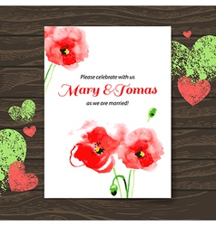 Wedding invitation card with watercolor poppy vector image