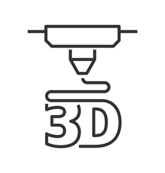 3D printer line icon vector image vector image