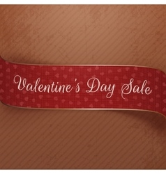 Valentines day sale curved red and golden ribbon vector
