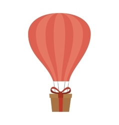 Balloon air hot with carton box isolated icon vector