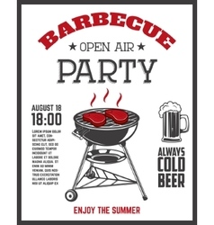 Barbecue open air party flyer template Grill with vector image