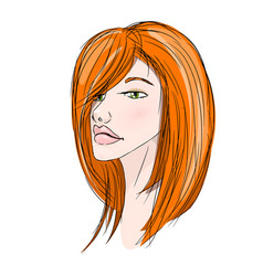 Beautiful redhead young girl vector