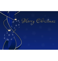 Blue christmas greeting card - baubles and ribbons vector