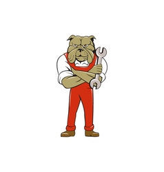 Bulldog mechanic arms crossed spanner cartoon vector