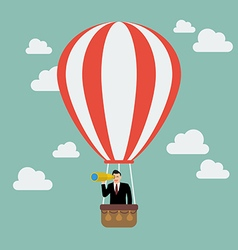 Businessman in hot air balloon search to success vector