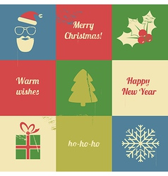 Christmas retro set vector