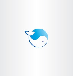 Circle whale water wave logo vector