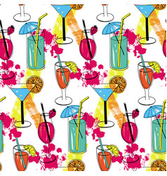 Cocktail seamless pattern with hand drawn sketch vector