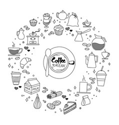 Coffee and cake time doodles hand drawn sketchy vector