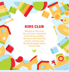 colorful banner for baby play club vector image