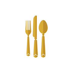 eat logo with spoon knife and fork gold color icon vector image