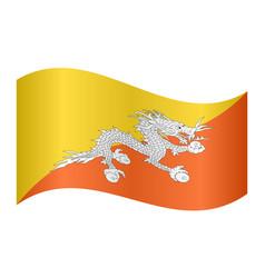 flag of bhutan waving on white background vector image