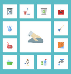 flat icons mopping faucet foam and other vector image