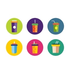 Flat soup icons collection vector image