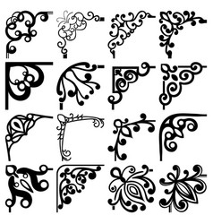 floral black and white corners set vector image vector image