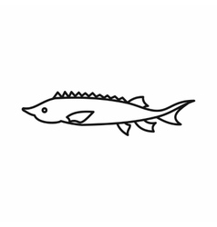 Fresh sturgeon fish icon outline style vector