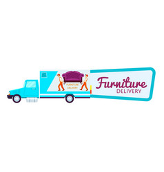 Furniture delivery sticker with freight truck vector
