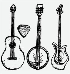 Guitar plectrum guitar and banjo vector
