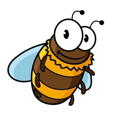 Happy flying cartoon bumble or honey bee vector