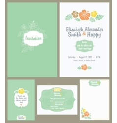 Hawaiian wedding invitation set light vector