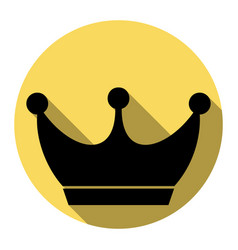 King crown sign flat black icon with flat vector