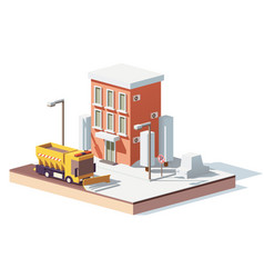 Low poly snowplows working in the city vector