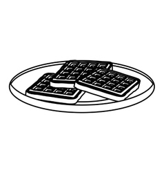 silhouette monochrome of dish with waffles vector image