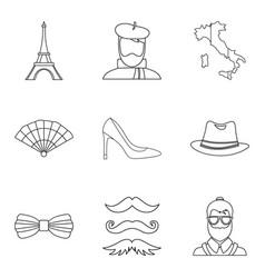 stylish icons set outline style vector image