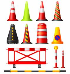 traffic cones drums and posts vector image