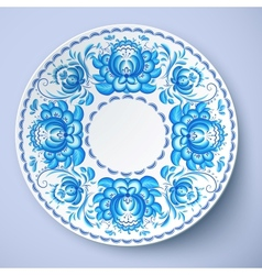 White plate with russian ornament vector image vector image