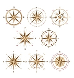 wind rose icons in vintage style vector image vector image