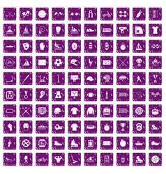 100 sport team icons set grunge purple vector