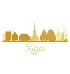 Riga city skyline golden silhouette vector