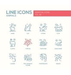 Animals - line design icons set vector