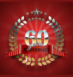 Anniversary 60th ring with red ribbon vector image