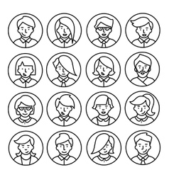 Set icons of men and women in a flat linear style vector