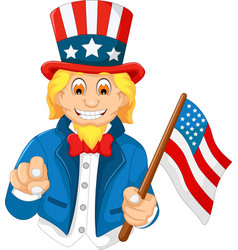 funny american cartoon holding american flag vector image