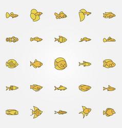 aquarium fish colorful icons vector image