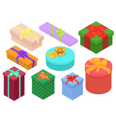 Bright colorful present and gift boxes set with vector