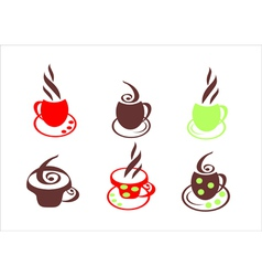Icons a cup of hot coffee vector