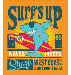 Shark west coast surfing team vector