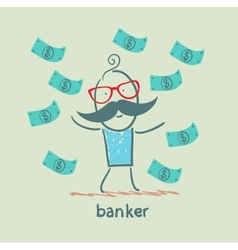 banker and a lot of money falling around vector image