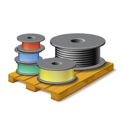 Different cables are on wooden pallet vector