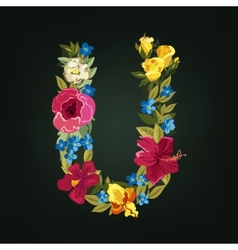 U letter flower capital alphabet colorful font vector
