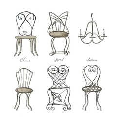 Sketches of chairs set vector image