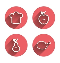 Food icons apple and pear fruit symbols vector