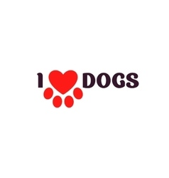 I love dogs Black lettering on a white background vector image