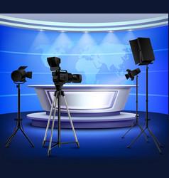 Realistic blue news studio interior vector