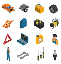 Car Service Isometric Isolated Icon Set vector image