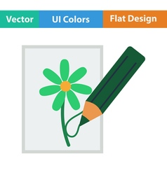 Flat design icon of sketch with pencil vector